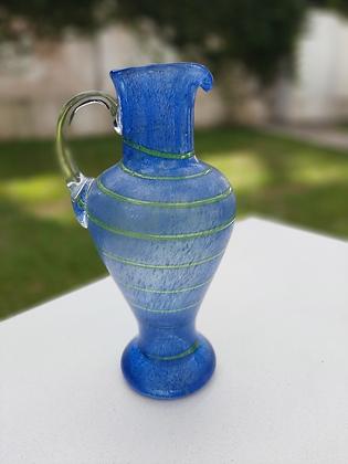 Vaso/Jarra Tipo Murano Azul com Listras Verdes