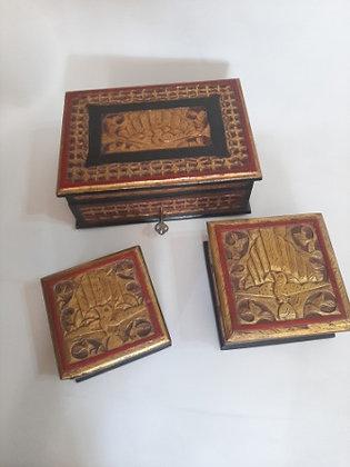 Jogo de Caixas de Jóias de Madeira (Ref: 154)