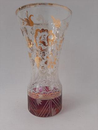 Vaso Vidro Vermelho e Dourado Anos 50 (Ref: 279)
