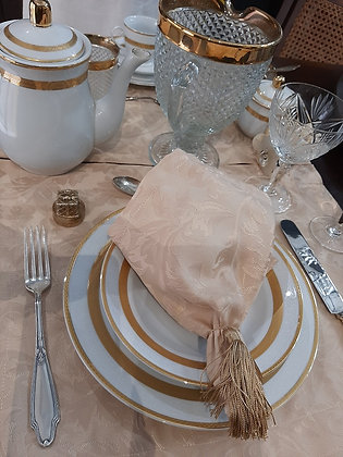 Jogo de Jantar e Café Italiano Branco e Dourado