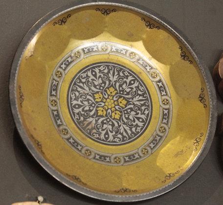 Prato Decorativo Metal Azul e Amarelo
