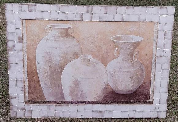 Gravura Vasos com Moldura Madeira 65x90cm