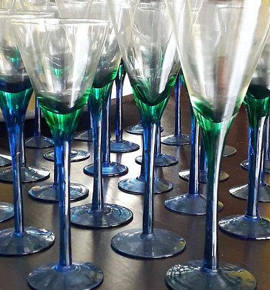 Taça de Vidro Azul e Verde