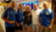 Kirra SLSC Club President Michael Hill joins club legends in the Kirra Supporters licensed facilities – Left to Right: Michael Hill; KSLSC Life Member Lance English; Cheryll Fenton (Kirra's first female Club Captain 1996/1997 and 1998/1999); KSLSC Life Member Keith Boucher; and KSLSC Life Member Ron Gurnett""