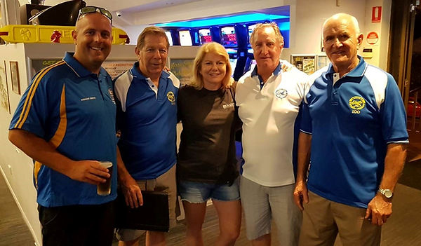 """Kirra SLSC Club President Michael Hill joins club legends in the Kirra Supporters licensed facilities – Left to Right: Michael Hill; KSLSC Life Member Lance English; Cheryll Fenton (Kirra's first female Club Captain 1996/1997 and 1998/1999); KSLSC Life Member Keith Boucher; and KSLSC Life Member Ron Gurnett"""""""