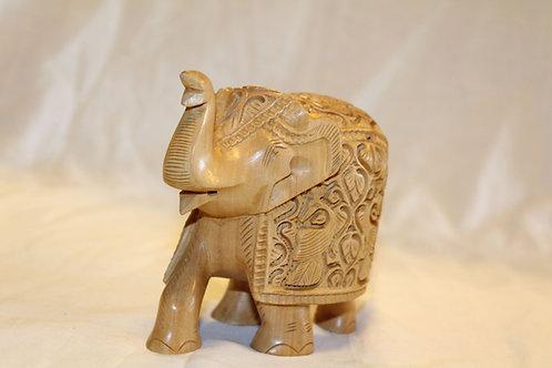 Wooden Elephant -Trunk up carved elephant