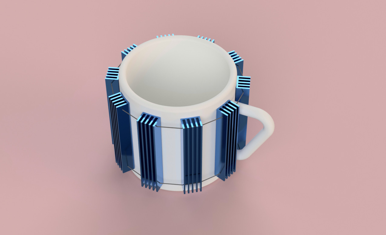 an inverted coozie meant to cool hot drinks