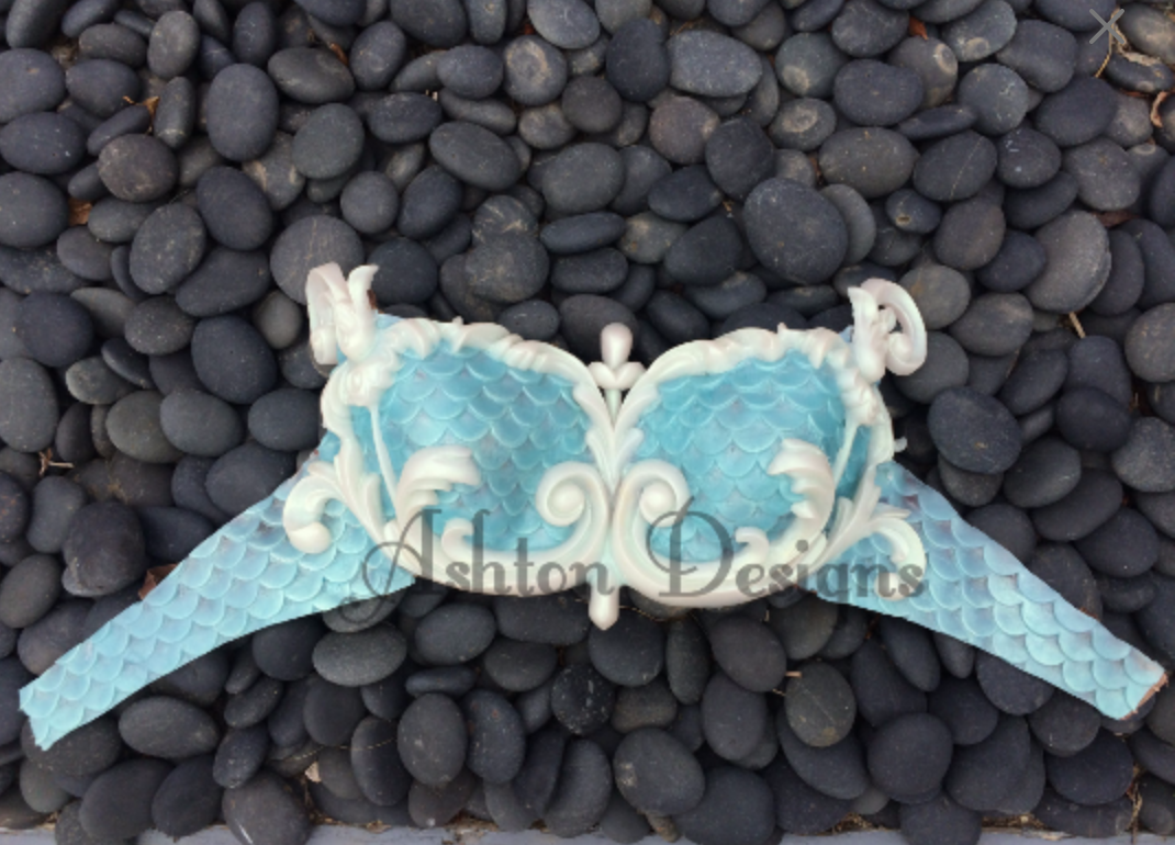 Mermaid top: Baby Blue and White