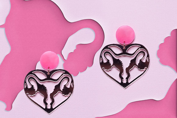 Uterus Rose Gold Earrings (also available in gold mirror with black stud)