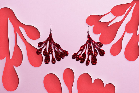 Lobes of the Breast Side View Red Glitter