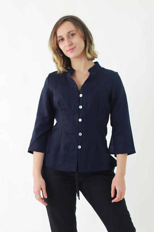 Thani: Mandarin collar linen blouse with 3⁄4 sleeves