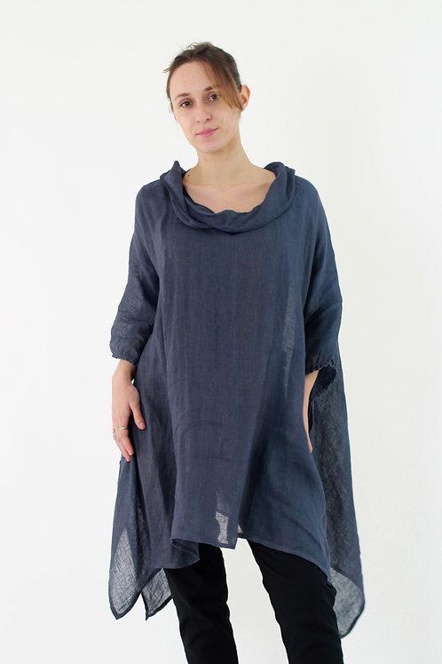 Yemen: Loose fitting linen gauze throw with cowl neckline