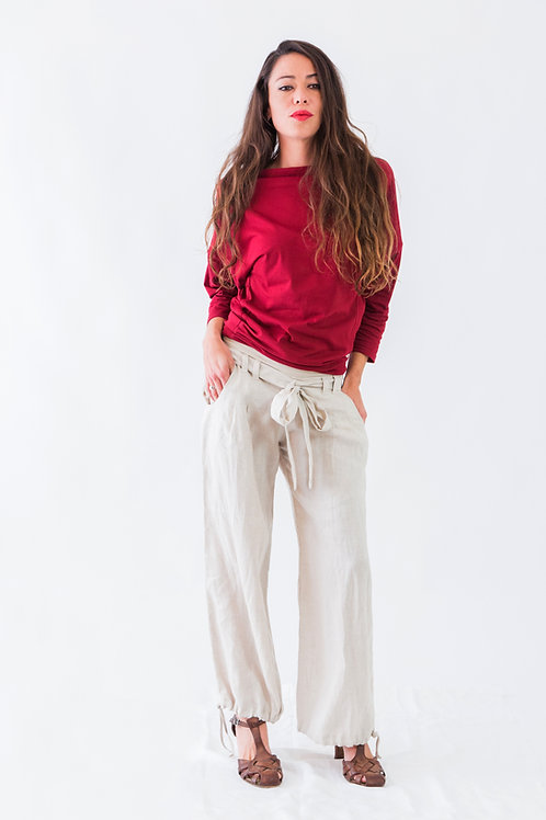 India: Pleated wide leg linen pants with belt