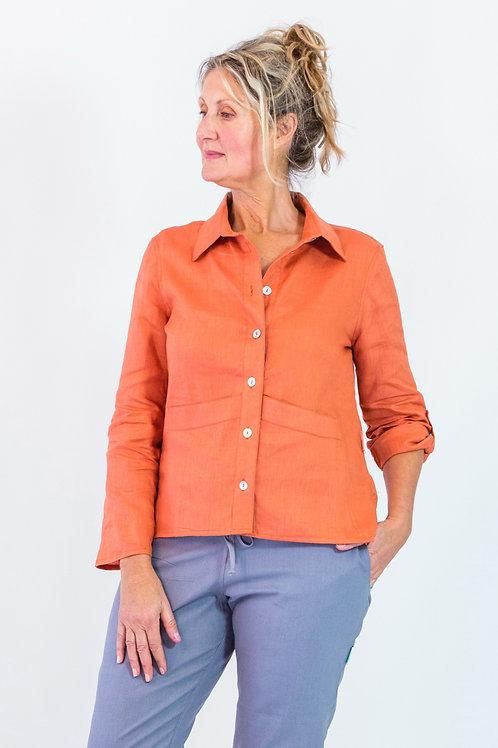 Nzima: Shirt collar linen blouse with adjustable sleeves