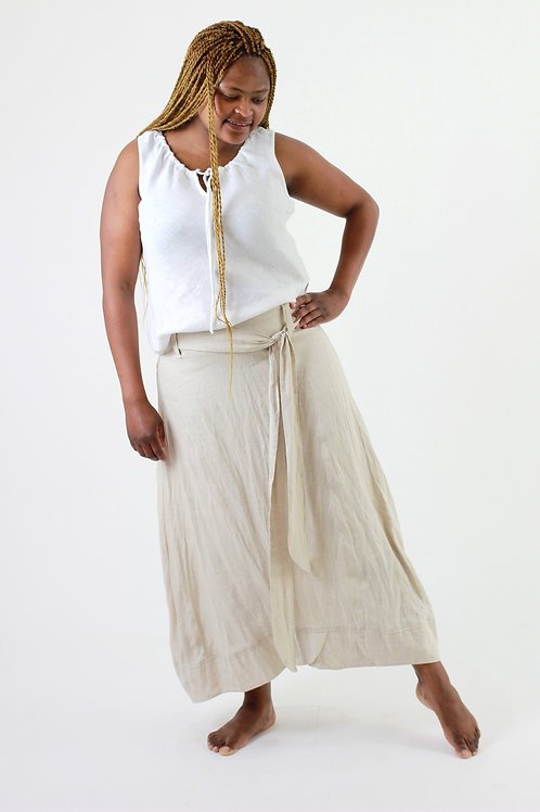 Tama: Ankle length A-line linen skirt with cotton lining