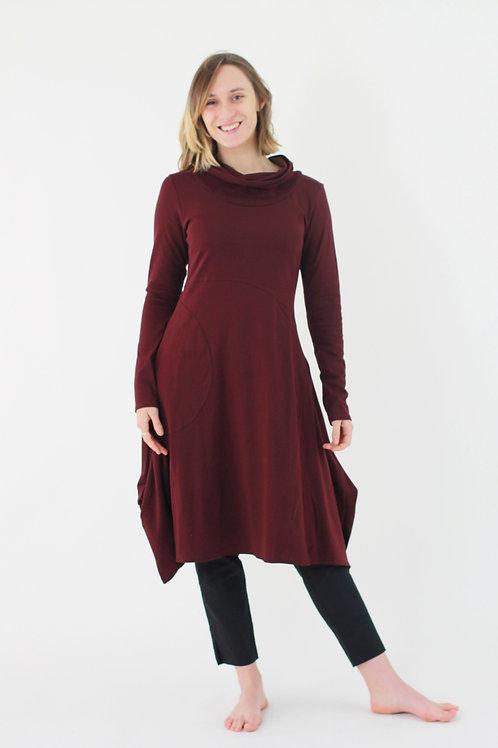 Magnolia: Long Sleeve Cowl Neck Scoop Knit dress