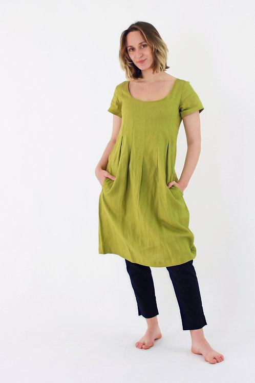 Milla: Short sleeve box pleat linen dress