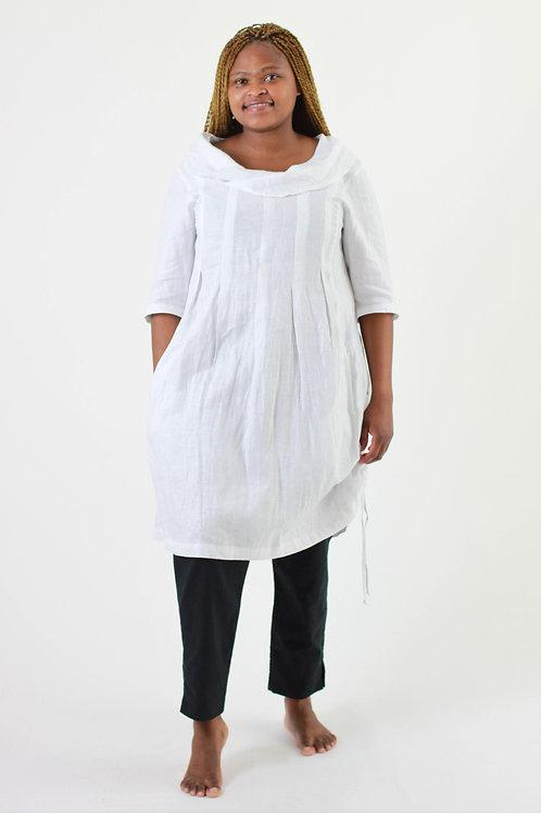 Coco: Cowl neck 3/4 sleeve box pleat tunic dress