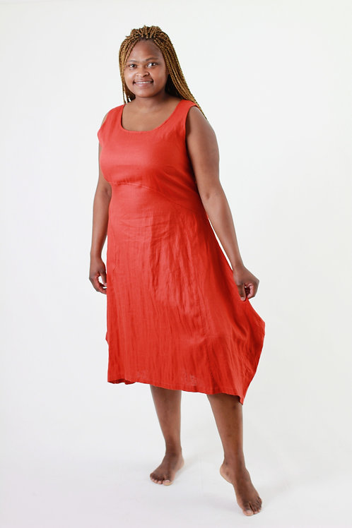 Vuyo: Sleeveless scoop linen dress