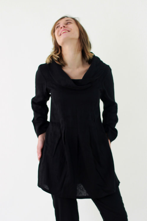 Isolde: Cowl Neck Box Pleat linen blouse with long rouche sleeves