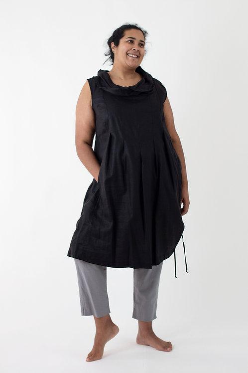 Africa: Short cowlneck box pleat linen dress