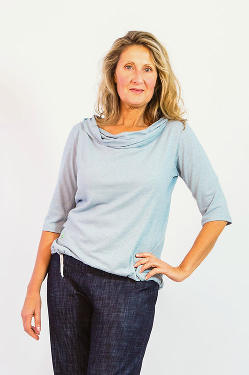 Ocean: Cowl neck hemp knit top with draw string hemline and 3⁄4 sleeves