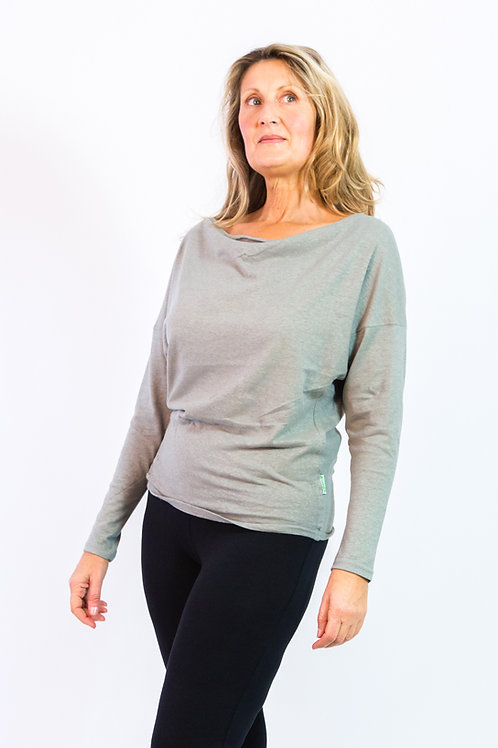 Shyla: Hemp Knit hip hugger with push up sleeves and draped neck line