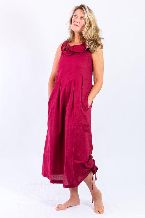 Gina: Maxi cowlneck box pleat rami dress