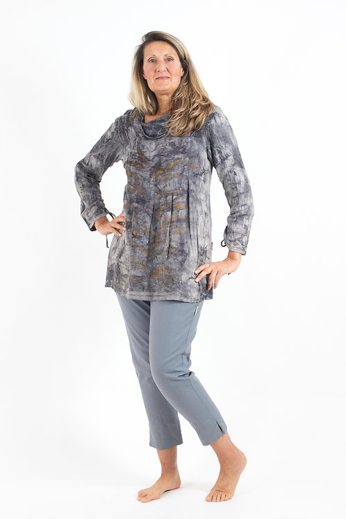 Smock Blouse with Cowl neck and long sleeves