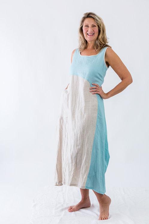 Flapper: Sleeveless maxi dual-tone linen dress