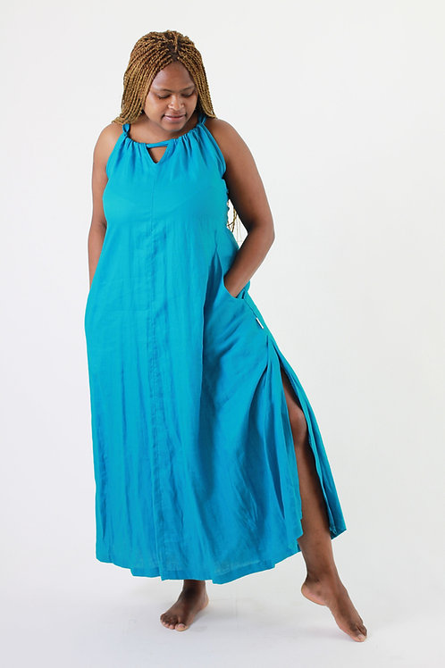 Oasis: Halterneck Maxi loose linen dress