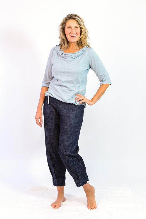 Oribi: Long ankle pleat denim pants