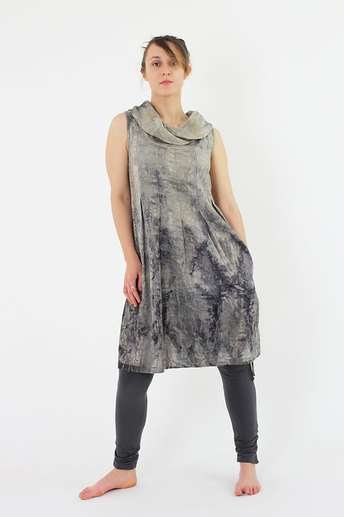 Cowl Neck Sleeveless linen/cotton dress with box pleats and pockets