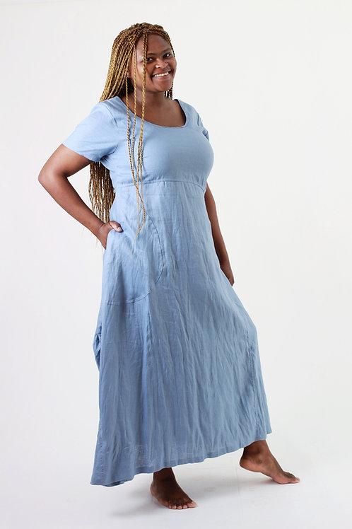 Dirvish: Short sleeve maxi scoop linen dress