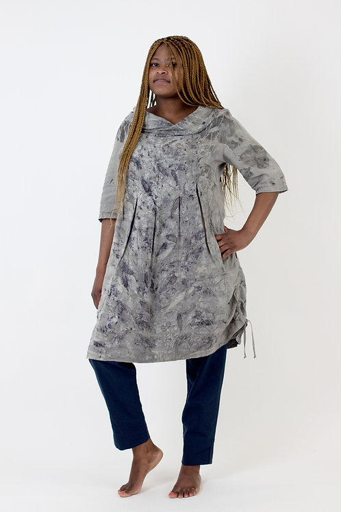 Knee Length linen tunic with cowl neck, pockets and 3⁄4 sleeves