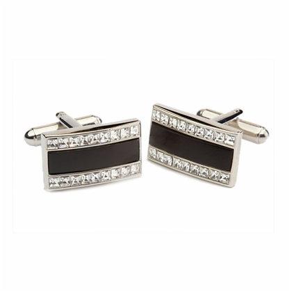 Gemelos rectangulares con esmalte negro y Swarovski