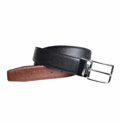 Cinturón reversible de piel de becerro grabada - POSSUM