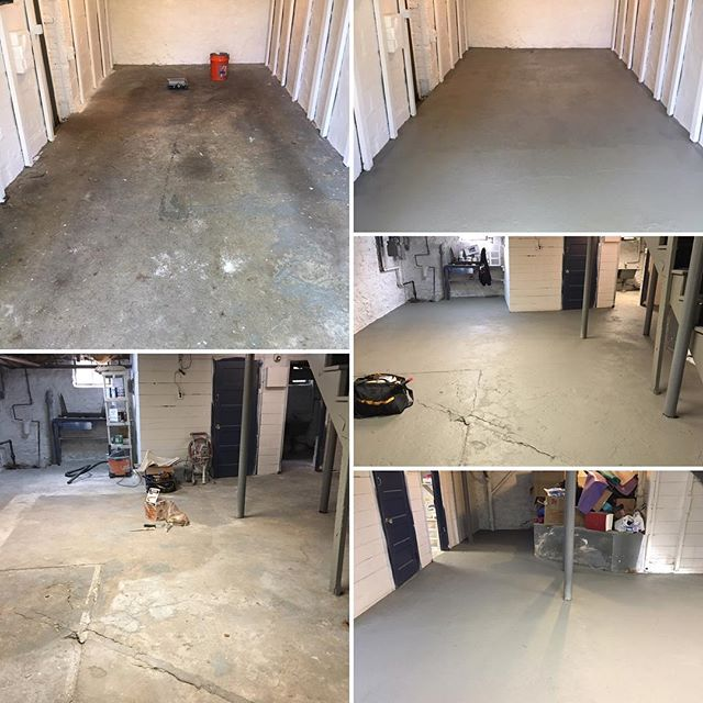 Before and After_ Garage and basement floor coating..