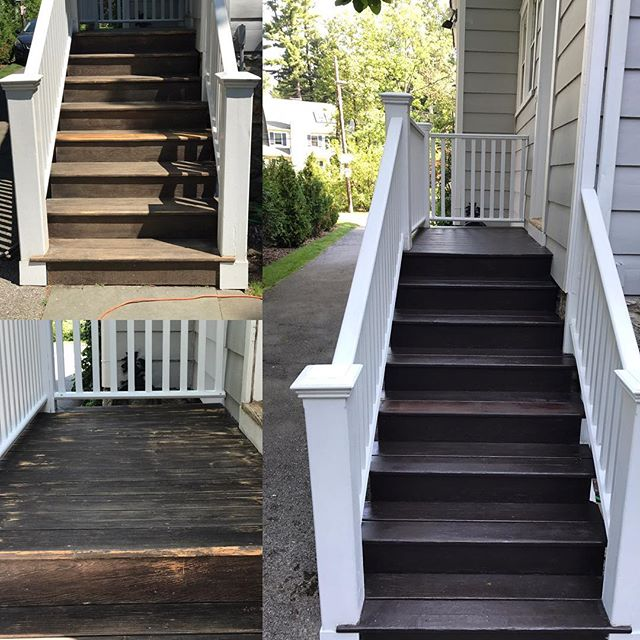 Before & After of the staircase we restored at the Brookside job. Prepped & coated with _benjaminmoo