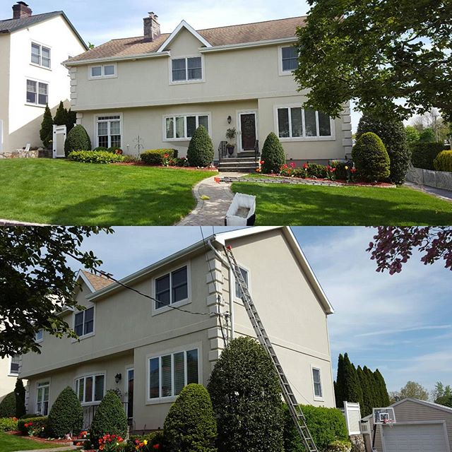 Another satisfied customer , after stucco power wash and full exterior trim painting on this beautif