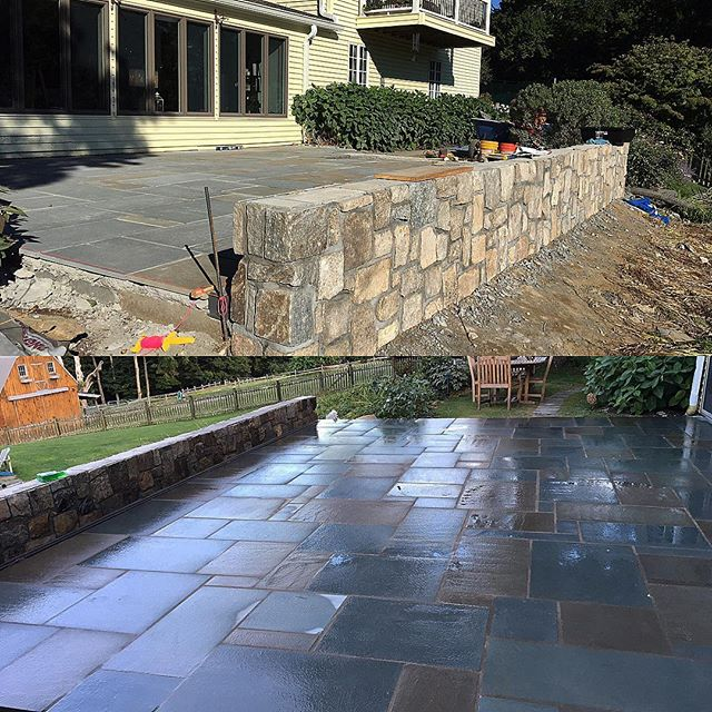 Patio all done! Just waiting for the cap stone for the wall to come in! #masonry #jeremiasdevelopmen