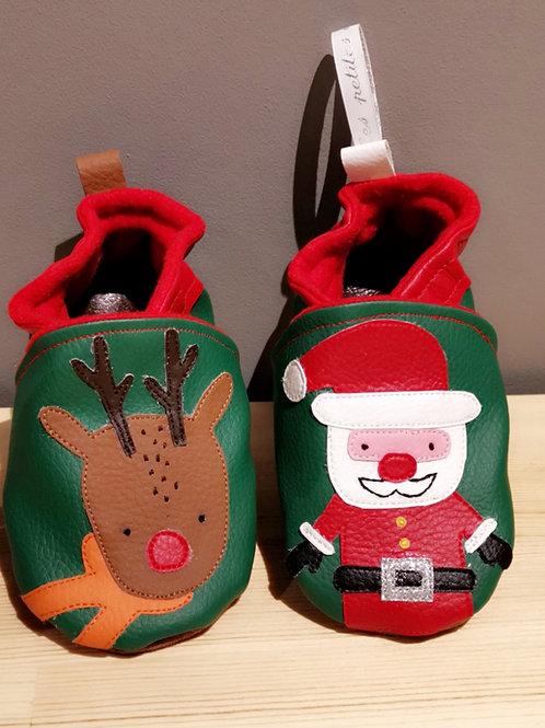 Chaussons Père Noël et son renne