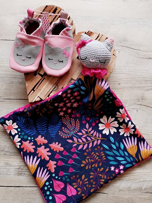 Ensemble chaussons et doudou Chat