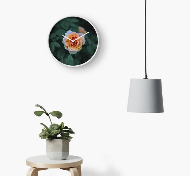 Orange Rose Clock