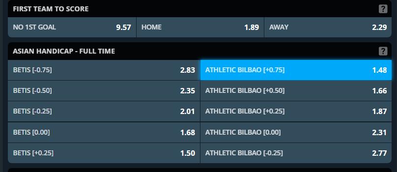 Asian Handicap predictions for Betis vs Athletic Bilbao - screenshot