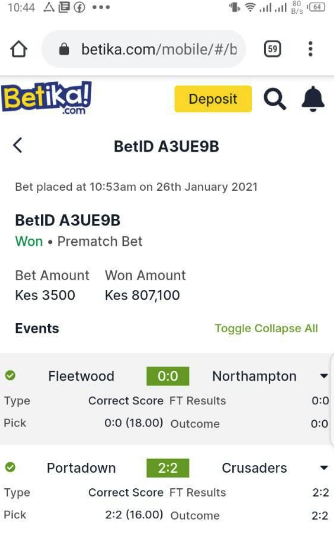 Betika Won tips 26th January 2020