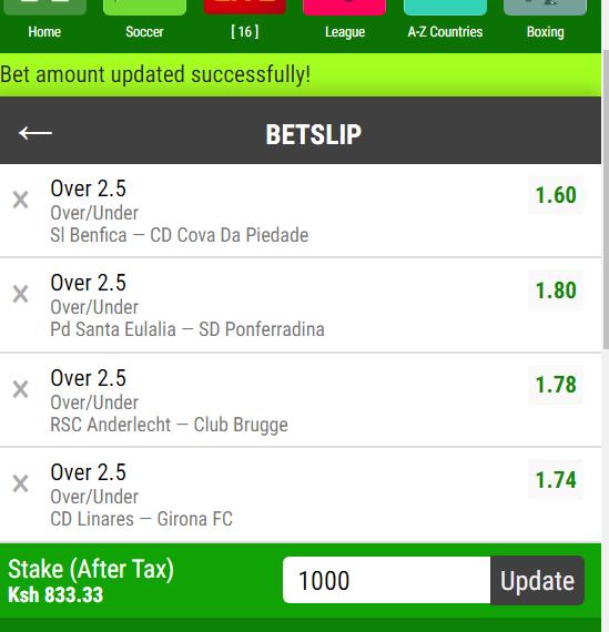 Over 2.5/Under 2.5 goals predictions today - betslip