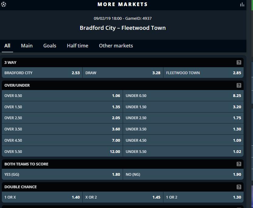 Screenshot of Sportpesa codes for the Bradford City Vs Fleetwood Town match