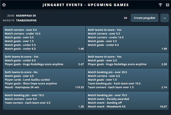 jenga bet events you can bet on