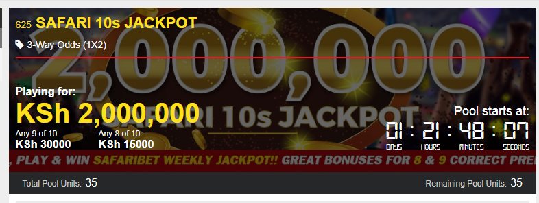 Safaribet jackpot prediction